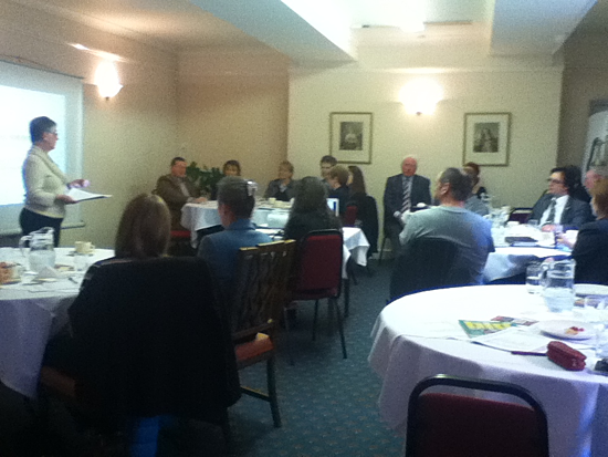Marie delivering a talk for the George Row Business Club